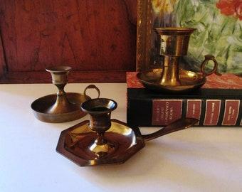 Three Vintage Brass Candlesticks, Brass Chambersticks, Brass Collection, Americana Style, Wedding Brass Decor