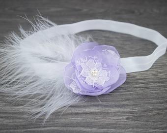 Lilac Christening Headband - Lilac Feather Headband - Lilac Headband - Baptism Headband - Girls Headband - Feather Headband -Lilac Hair Band