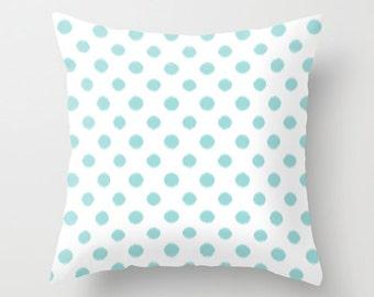 Decorative Pillows - Velveteen Pillow -Cover - Blue - Polka Dots - Throw Pillow Cover - Aqua - Teen Pillows - Dorm Pillows - Girls Pillows