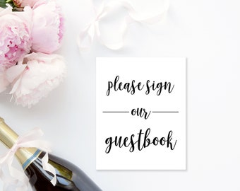 Please Sign Our Guestbook Sign | Black and White Wedding Sign | Instant Download | Wedding Printable | Wedding Event Sign |
