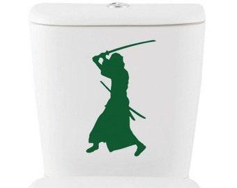 Samurai DECAL- Home Decor, Vinyl Wall Art, Shower, toilet, Bathroom, Interior Design