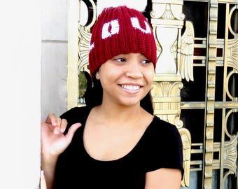 Love Pom Pom Hat, Crochet Pom Pom Hat, love, Tam Hat, Crochet Hat, Color is Cranberry,