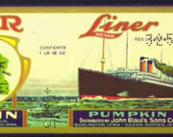 1920s Pumpkin Steamship Liner Antique Can Label Very Scarce John Blaul Cedar Rapids Burlington Iowa