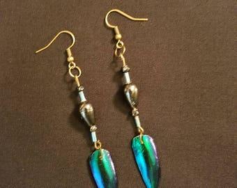 Blue Wing Beaded Earrings