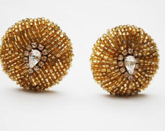 Woven Bead Rhinestone Earrings - Mid Century  - Round - Yellow seed bead - Clip on earrings