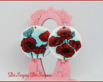 Large hand-painted poppy earrings-4.5 x 4.5 cm-1.7 x 1.7 inches