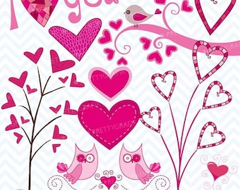 80% OFF SALE valentine hearts clipart commercial use, vector graphics, digital clip art, digital images - CL446