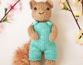 Squirrel with Overalls Knitting Pattern