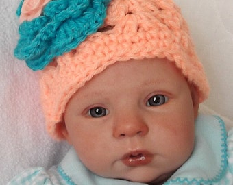 Sweet....Peach and Aqua...Dressy Beanie....0 to 3 Month Baby GIRL...Photos.....READY to SHIP