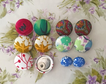 Vintage Inspired Button Earrings / Wholesale / Collection of 6 / Discontinued Prints / Gift Set / Small Studs / Hypoallergenic Post