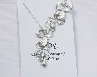 Maid of Honor Gift Necklace, Orchid Necklace, Wedding Necklace, Bridesmaid Necklace, Bridesmaid Gift, Wedding Jewelry, Bridal Party Gift