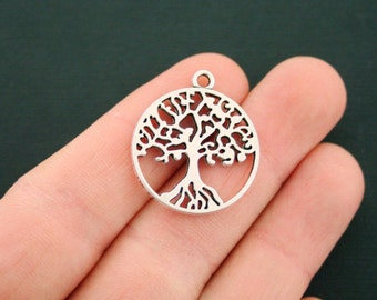 6 Tree of Life Charms Antique Silver Tone 2 Sided Just Lovely - SC3170