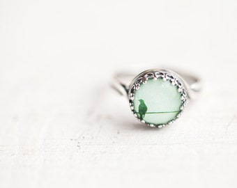 Bird ring, Dainty ring, Adjustable ring Mothers day gift, Mint ring Spring jewelry, Dainty jewelry Mint green ring, Silver ring gift for her