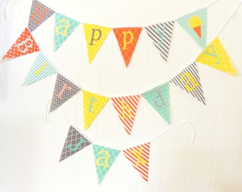 Personalized Fabric Pennant Flags, Baby Name Banner, Nursery Custom Letters, Baby Shower Name Banner, Boy Birthday Banner, Orange, Yellow