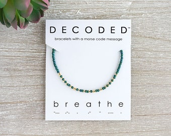 BREATHE - Morse Code Bracelet - Inspirational Jewelry - Morse Code Jewelry - Mantra Bracelet - Motivational Jewelry