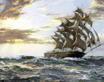 The Clipper Ship Cutty Sark Painting by Montague Dawson Art Reproduction