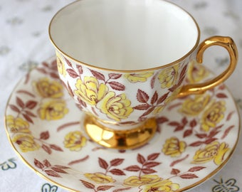 Rosina Yellow Roses with Light Brown Leaves #4997  Teacup and Saucer