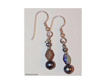 EA5 - Earrings - Czech glass and sterling silver wires - one of a kind by Patricia Gould