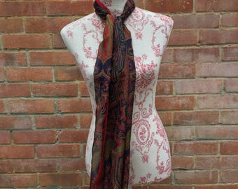 Vintage Indian patterned scarf red and black