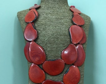 Tagua nut jewelry- bead necklace. Eco Friendly- Shades of Red