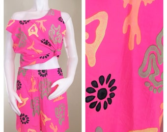 80s Out of Control Neon Pink Tribal Cactus Print Sleeveless Tank and Matching Elastic Shorts Set, Size Large to XL