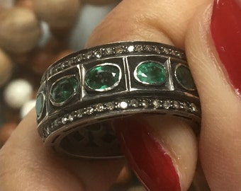 Garden green 4.3 carat oval emerald 1.3 carat champagne diamond pave eternity band ring