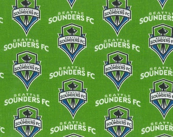 Seattle Sounders Soccer Club - MLS - 100%Cotton Fabric sold by the yard - 2 Yards Available