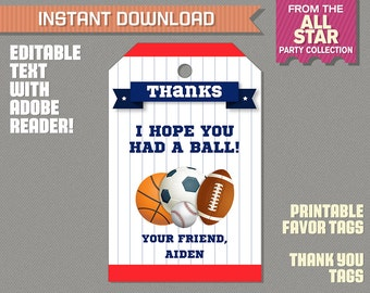 Sports Party Favor Tag / Sports Thank you Tag - All Star Birthday - All Star Party - INSTANT DOWNLOAD - Edit and print with Adobe Reader