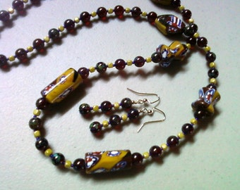 Maroon and Chartruese Millifiori Necklace and Earrings (0819)