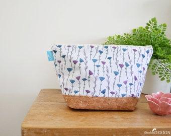 Flowers Wash bag, Vegan Leather Bag, Vegan Leather Clutch, Toiletry Bag, Nappy Bag, Cosmetic Bag, Cork Leather, Zipper Bag, Floral Gift