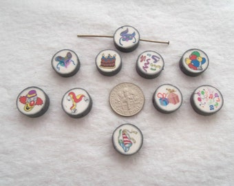 14 mm Polymer Clay Coin Bead Assortment - 20 pcs (1625)