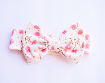 Cherry Blossom Cotton Stretch Bow / Spring / Floral / Baby and Toddler Girl / Baby Shower Gift / Flowers / Stretch Bows / Pink and White