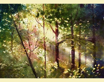 Watercolor Painting PRINT Forest Trees Light Woods tree summer Landscape cranberry  GICLEE