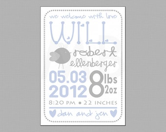 Baby Boy Birth Announcement - Blue & Gray, Completely Custom
