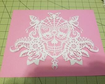 Candy Skull, skull, papercut, decoration, decor, wall art, paper art, sugar skull, home decor