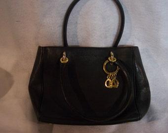 PHYNES Black Leather Hand Bag