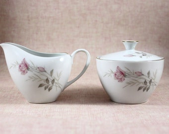 Camelot China Creamer and Sugar Bowl with Lid, American Rose Pattern, Vintage from 1960s