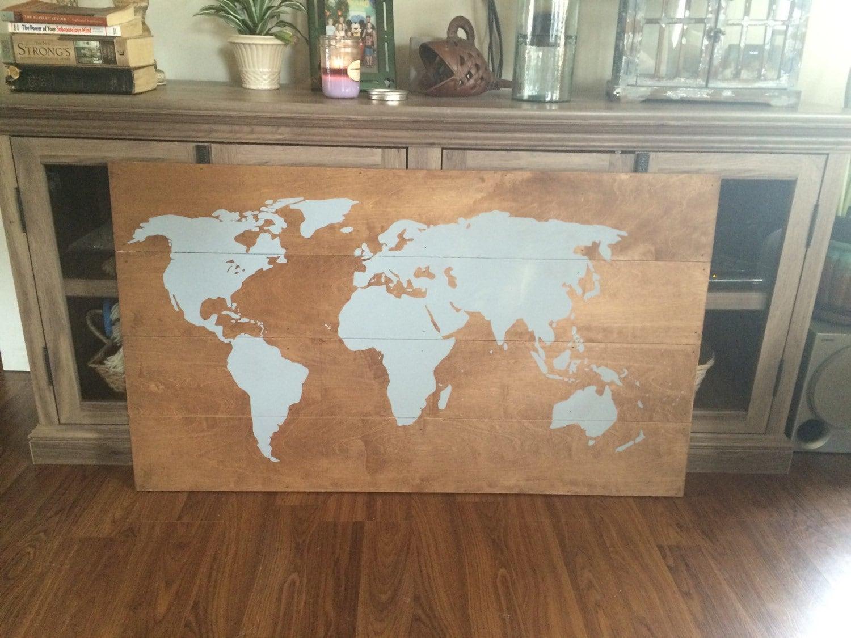 Deco Murale Mappemonde pour carte du monde sur bois d�coration murale tenture murale