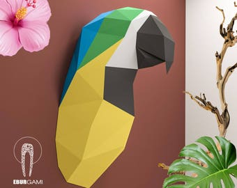 Parrot Trophy Head, Parrot Papercraft, Ara Parrot 3D, Instant Download, DIY Low Poly Tropical, Parrot PDF Template, Eburgami, 3D Papercraft