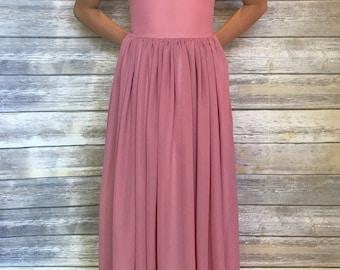 Dusty Pink flower girl dress- Floor Length dress - Dusty Pink chiffon dress - Mauve chiffon flower girl dress - Toddler pink dress -