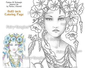 Morning Glory Fairy Tangles printable coloring book sheets pages Norma J Burnell Grayscale coloring images Adult Coloring digital Coloring