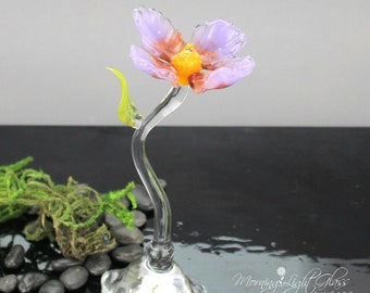 Purple Wildflower Flower Sculpture - Blown Glass - Nature Inspired Home Decor