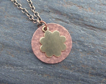 Hand Textured Boho Hippie Flower Child Copper Disc with Brass Flower Necklace