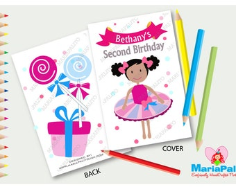 Tutus & Bow Ties Coloring Books, Tutu Girl Party Favor, Personalized Party Favor A1210