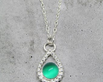 Green Onyx necklace - Teardrop Pendant Necklace - 925 sterling silver necklace
