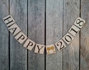 HAPPY 2018 banner, happy new year banner, happy new year photo prop, new years banner, new years party decor, 2018 banner, 2018 sign