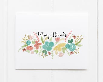 Many Thanks Thank You Notes Greeting Card Many Thanks Hand Drawn Thank You Notes Family Stationary Custom Greeting Cards