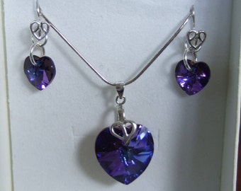 """16"""" Sterling Silver Snake Chain Necklace and Earring Set with Swarovski Elements Heart Crystals"""