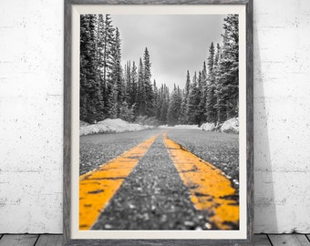 Black and Yellow Prints, Black and White Photography, Minimalist Print, Minimalist Wall Art, Road Print, Minimalist Art, Mountain Art, Decor