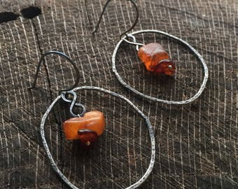 Organic Baltic Amber Earrings - Unique Sterling Silver Hoops - Rustic Artisan Crafted Jewelry